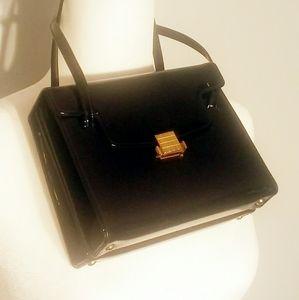 Vintage PATENT LEATHER Black Shoulder Handbag
